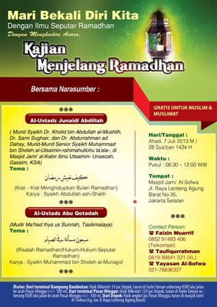 Kajian Bulanan: Kiat – Kiat Menghidupkan Bulan Ramadhan & Risalah Ramadhan